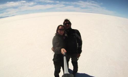 Salar de Uyuni, Bolivia, en moto